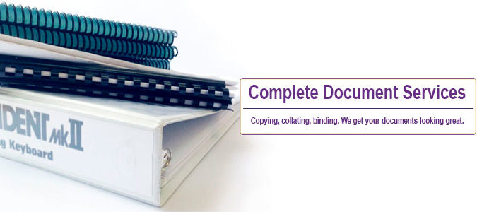 Copying, collating, binding. We get your documents looking great.
